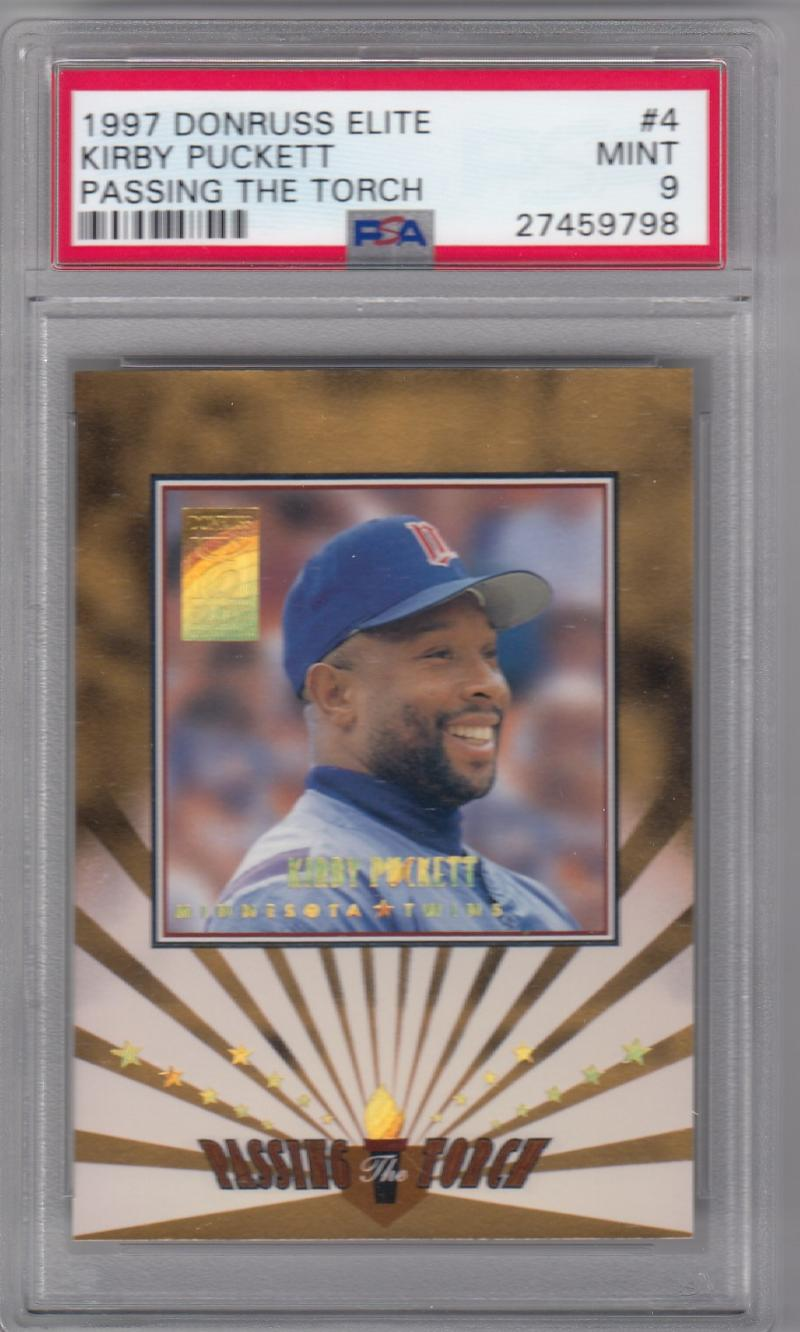 1997 Donruss Elite Passing the Torch #4 Kirby Puckett PSA 9 MINT 927/1500