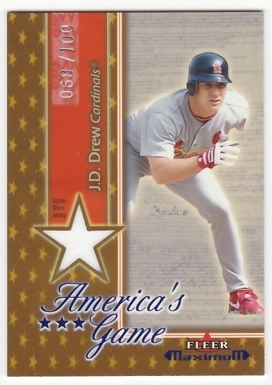 J.D. Drew 2002 Fleer Maximum Americas Game Jersey Gold #68/100