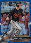 2018 Bowman Chrome Blue Refractor #77 Chance Sisco NM Near Mint RC Rookie 115/150