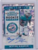 2019 Panini Contenders Cracked Ice #190 Myles Gaskin RC Rookie Auto 14/23